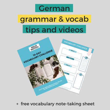Learn German and vocabulary note sheet